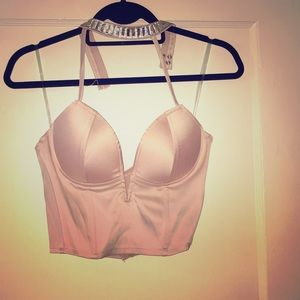 Charlotte Russe baby pink silky bustier